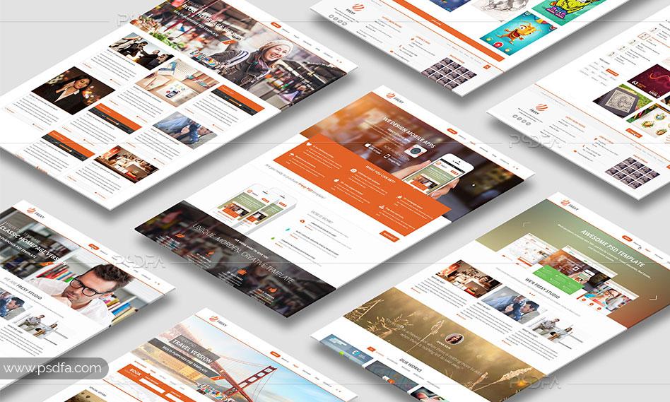 موکاپ کاغذ A4 و وب سایت لایهباز psd برای فتوشاپ