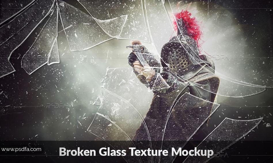 قالب لایه باز افکت شیشه شکسته و خرد شده با فرمت PSD