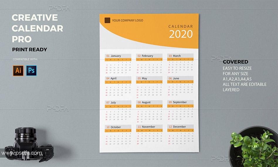 قالب لایهباز تقویم 2020 میلادی دیواری برای فتوشاپ و ایلوستریتور