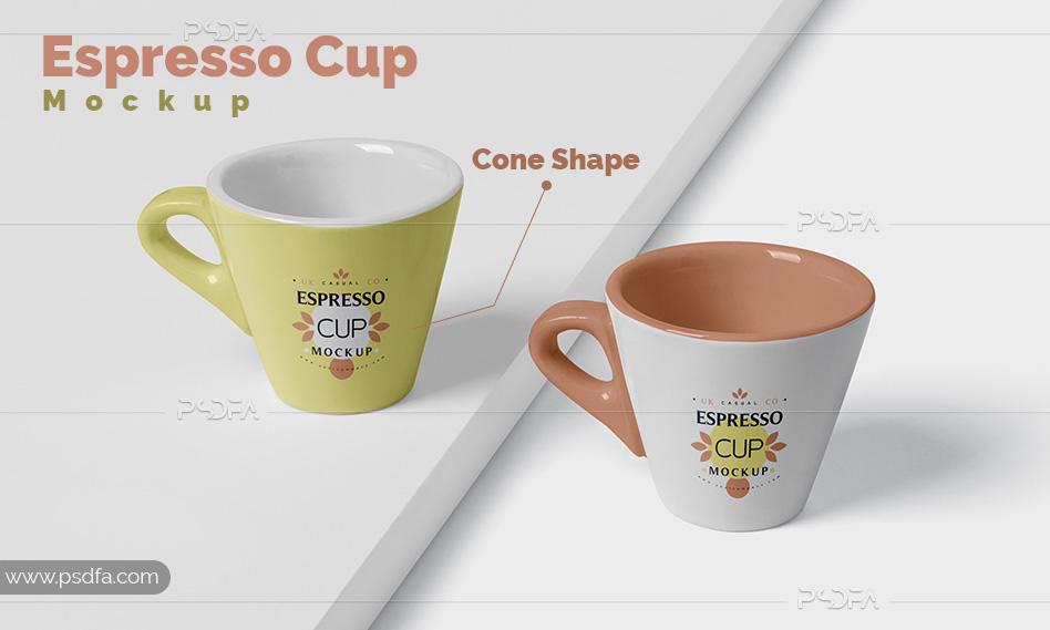 موکاپ فنجان اسپرسو و قهوه سرامیکی مخروطی شکل لایهباز برای فتوشاپ