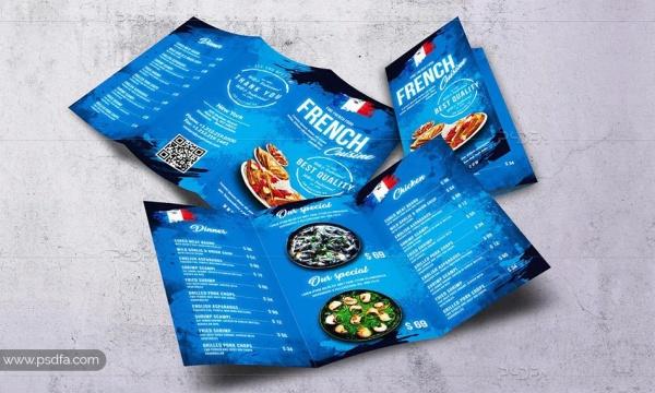 طرح لایهباز بروشور منوی غذای فرانسوی 3 لتی برای فتوشاپ