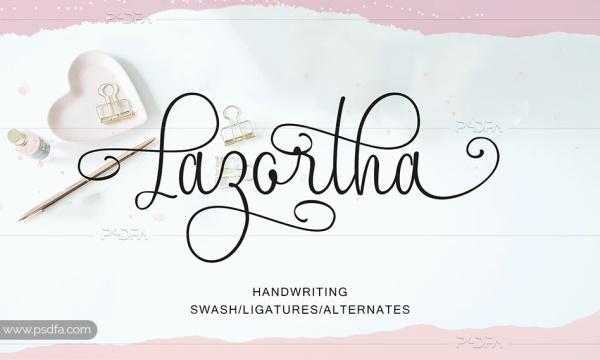 اسکریپت فونت انگلیسی Lazortha مناسب برای طراحی