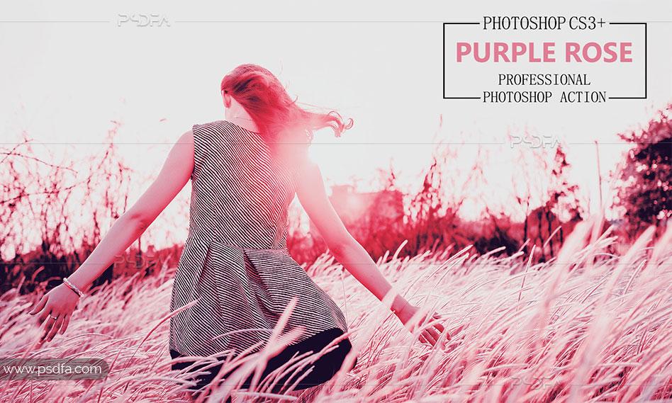 اکشن افکت رز بنفش بر روی عکس و تصاویر در فتوشاپ