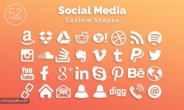 52 کاستوم شیپ آیکون شبکههای اجتماعی مناسب برای طراحی