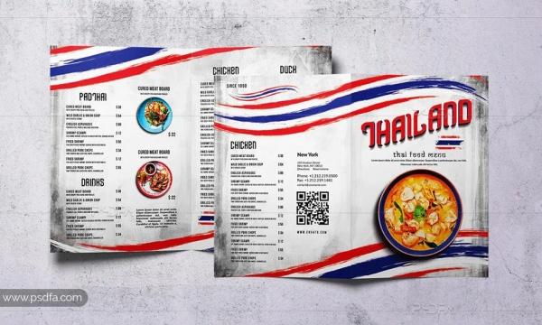 طرح لایهباز بروشور منوی غذای تایلندی 2 لتی برای فتوشاپ