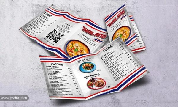 طرح لایهباز بروشور منوی غذاهای تایلندی 3 لتی برای فتوشاپ