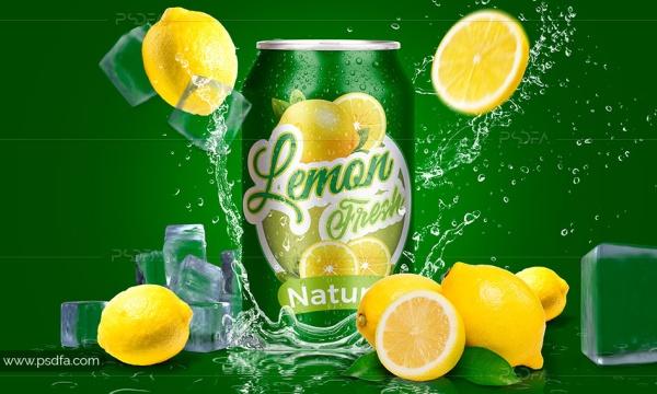 موکاپ قوطی نوشیدنی دلستر و نوشابه با افکت لیمو و قطرات آب