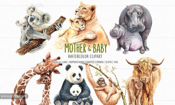 طرح آبرنگی مادر و فرزند حیوانات با فرمت PNG مناسب برای طراحی