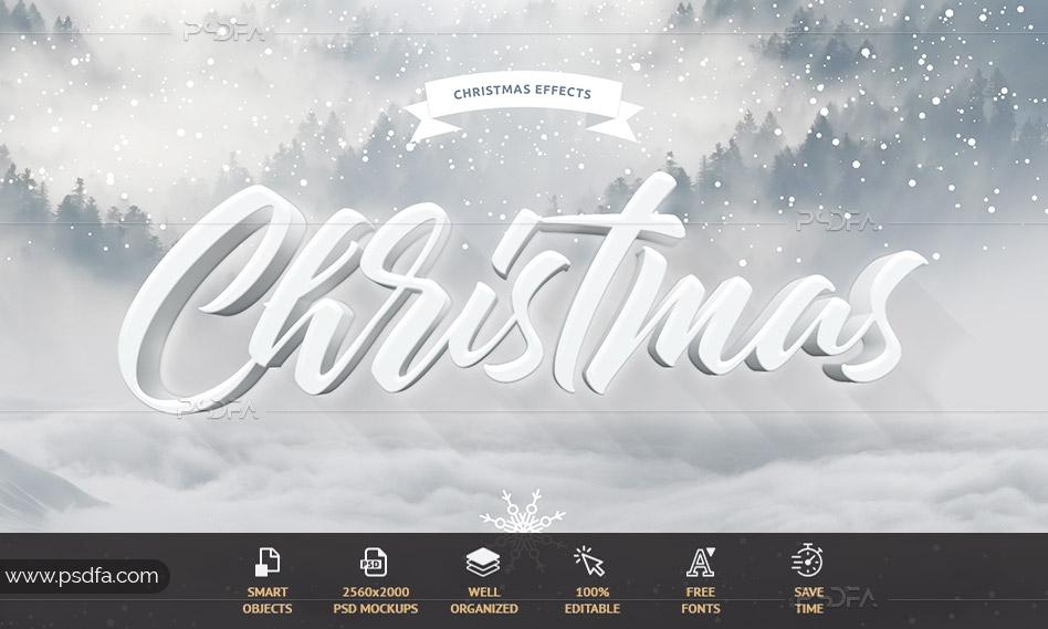 افکت متن کریسمس مبارک لایهباز psd برای فتوشاپ