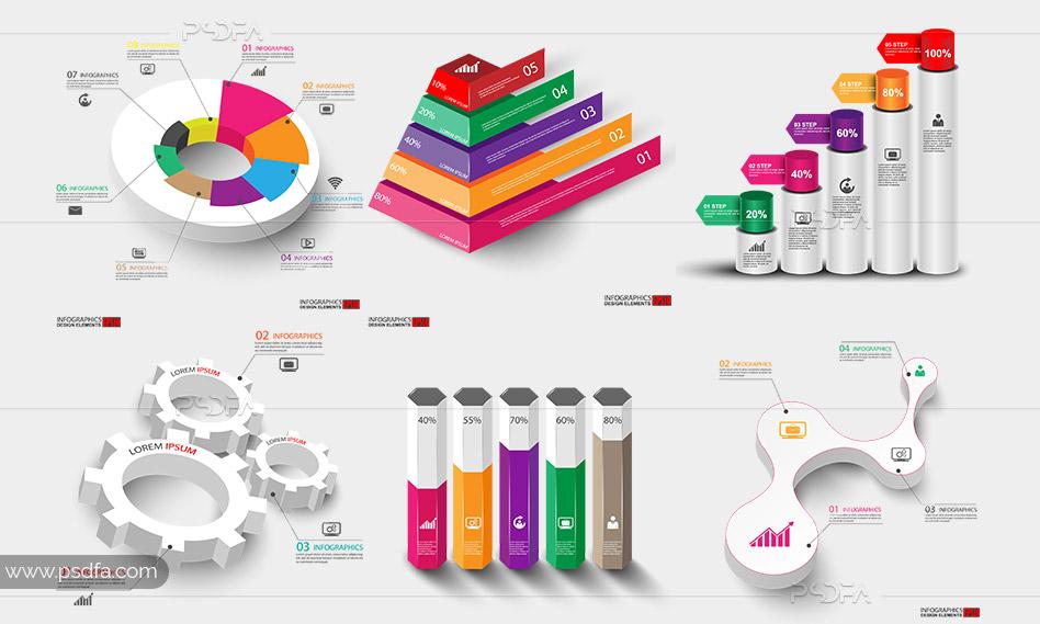 طرح وکتور اینفوگرافیک سهبعدی لایهباز برای ایلوستریتور