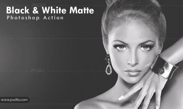 تبدیل عکس رنگی به سیاه و سفید مات در فتوشاپ با اکشن Black & White Matte