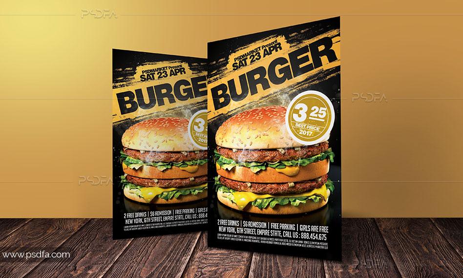 طرح لایهباز تراکت همبرگر برای فست فود و ساندویچی با فرمت PSD
