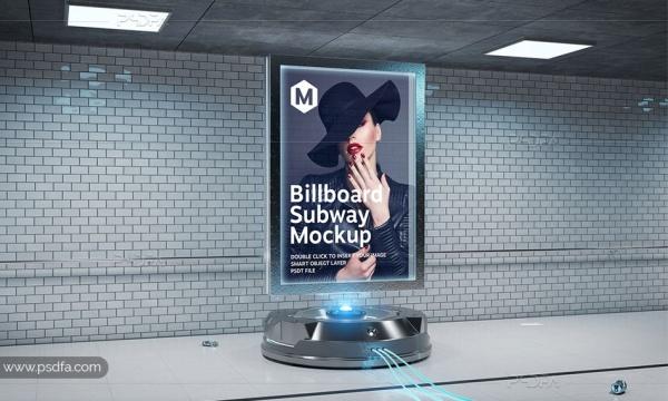 موکاپ بیلبورد تبلیغاتی انتزاعی داخل تونل و ایستگاه مترو