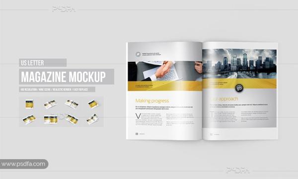 موکاپ مجله در سایز و ابعاد US Letter و در حالات و زوایای مختلف