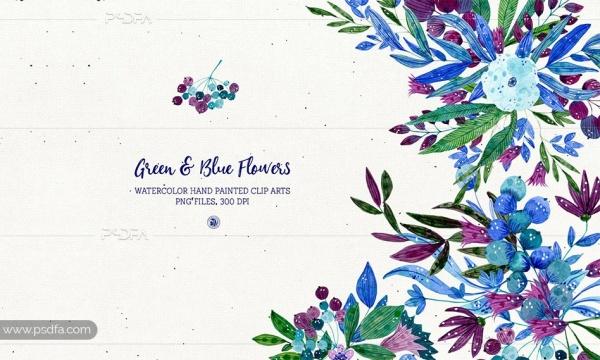 طرح آبرنگی گل و بوته سبز و آبی با فرمت PNG برای طراحی