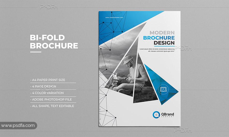 طرح لایهباز بروشور شرکتی 2 لتی با 4 رنگبندی متنوع