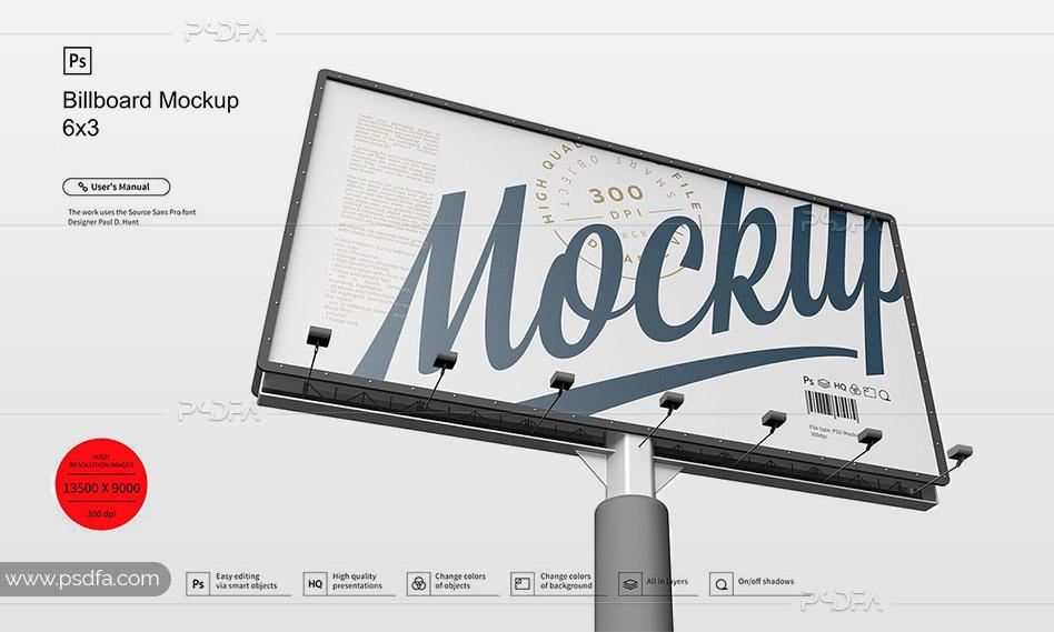 موکاپ بیلبورد تبلیغاتی 3×6 متری شهری لایهباز قابل ویرایش در فتوشاپ