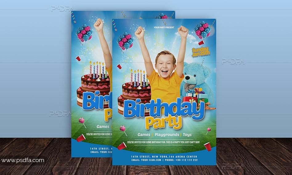 طرح لایهباز تراکت جشن تولد کودک با فرمت PSD