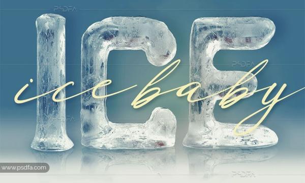 کلیپ آرت حروف و اعداد انگلیسی 3D با افکت یخ