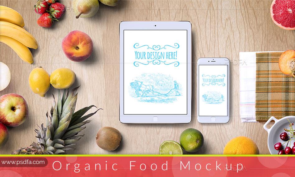 موکاپ میوه و غذاهای ارگانیک لایه باز با فرمت PSD برای فتوشاپ