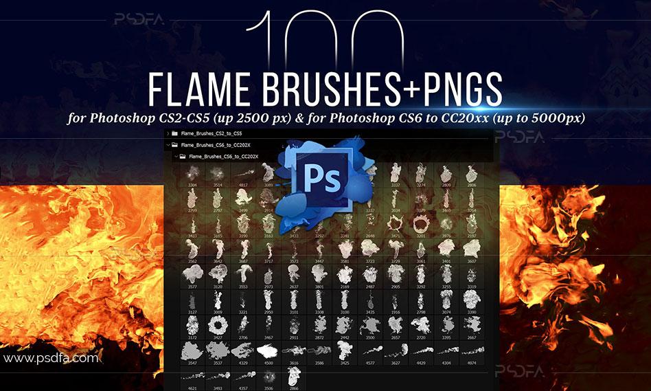 براش و PNG شعله آتش با کیفیت بالا مناسب برای افکتگذاری بر روی تصاویر