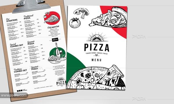 طرح لایهباز تراکت و منوی پیتزا ایتالیایی با فرمت PSD برای فتوشاپ