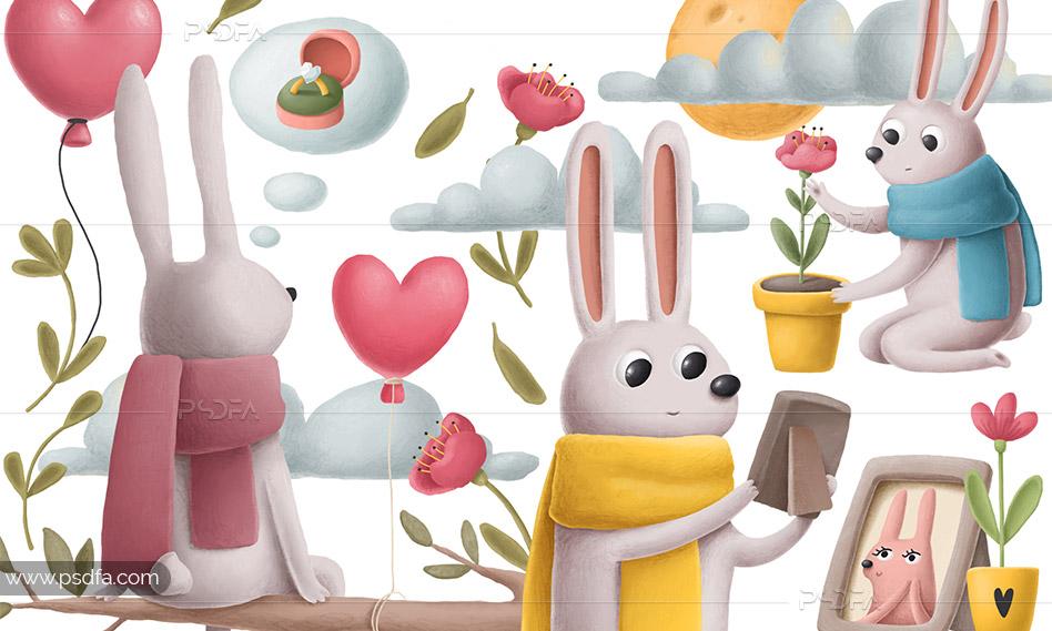 کلیپ آرت خرگوش فانتزی و رمانتیک به همراه عناصر طراحی عاشقانه