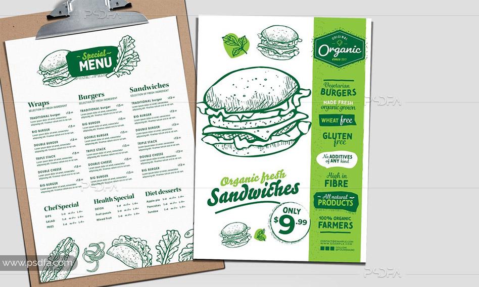 طرح لایهباز منوی ساندویچ همبرگر برای فستفود با فرمت PSD