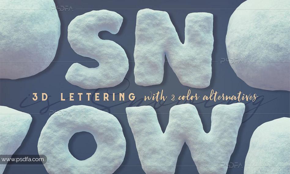 کلیپ آرت حروف و اعداد انگلیسی 3D با افکت برف