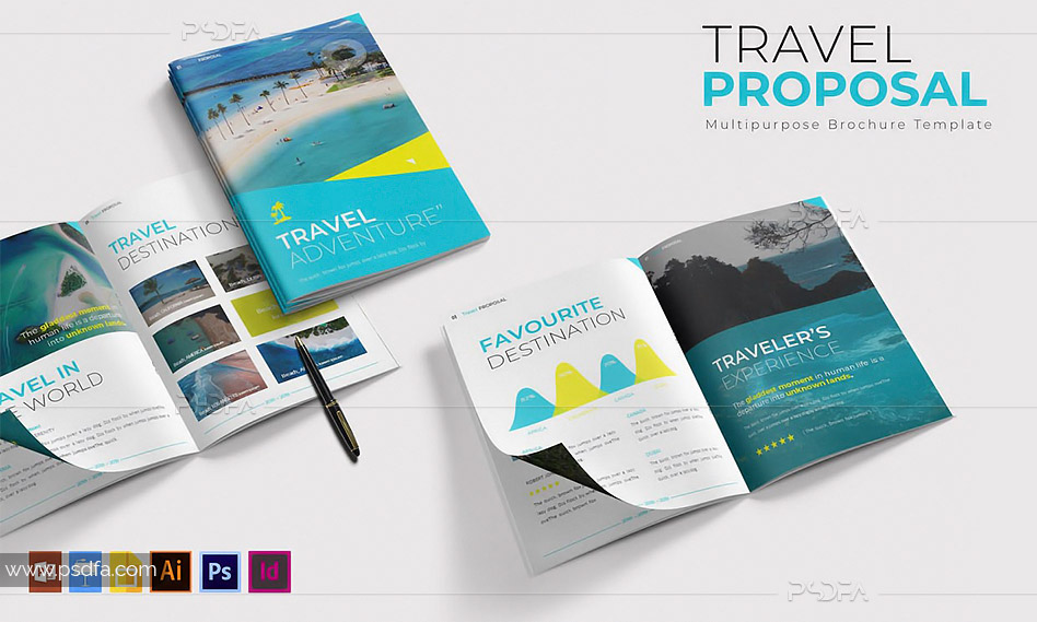 طرح لایهباز بروشور تور تفریحی ، گردشگری و مسافرتی A4 برای فتوشاپ