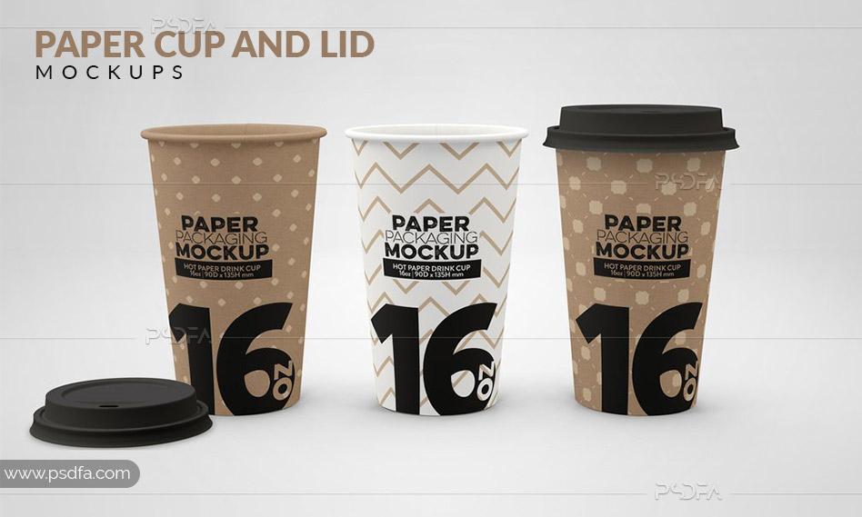 موکاپ لیوان کاغذی یکبار مصرف درب دار کوچک، متوسط و بزرگ