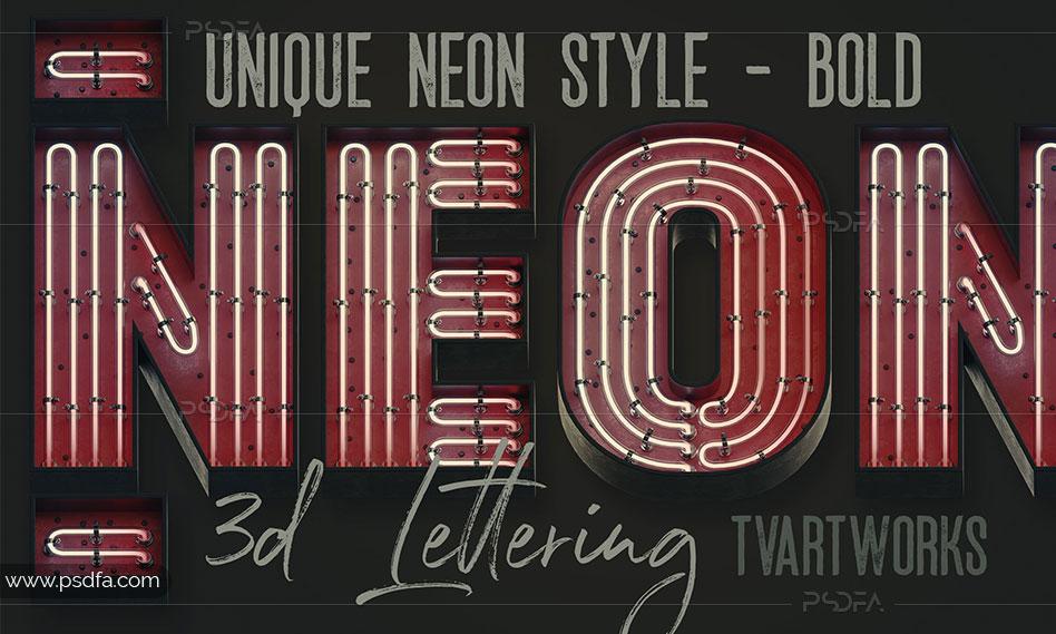 افکت لامپ نئون تزئینی حروف و اعداد انگلیسی سهبعدی با 4 استایل و نمای مختلف
