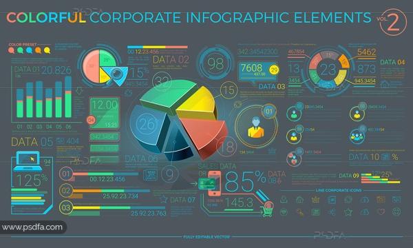 آیکون، نمودار، نقشه و عناصر طراحی اینفوگرافیک شرکتی