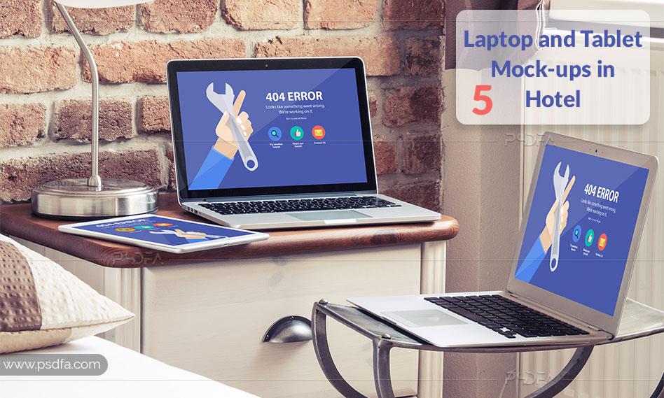 موکاپ لپ تاپ و تبلت در هتل لاکچری به صورت لایهباز برای فتوشاپ