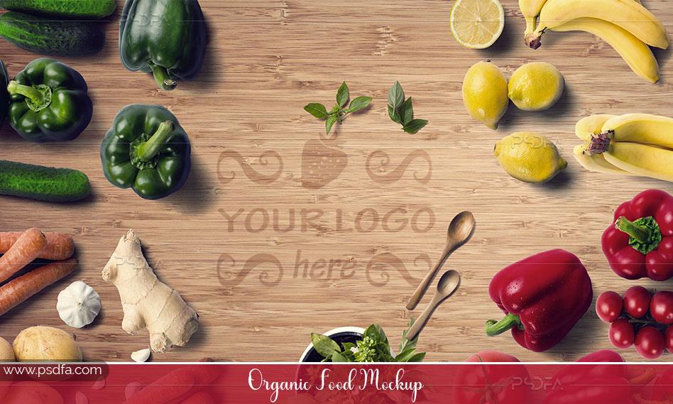 قالب لایهباز میوه و سبزیجات ارگانیک قابل ویرایش در فتوشاپ