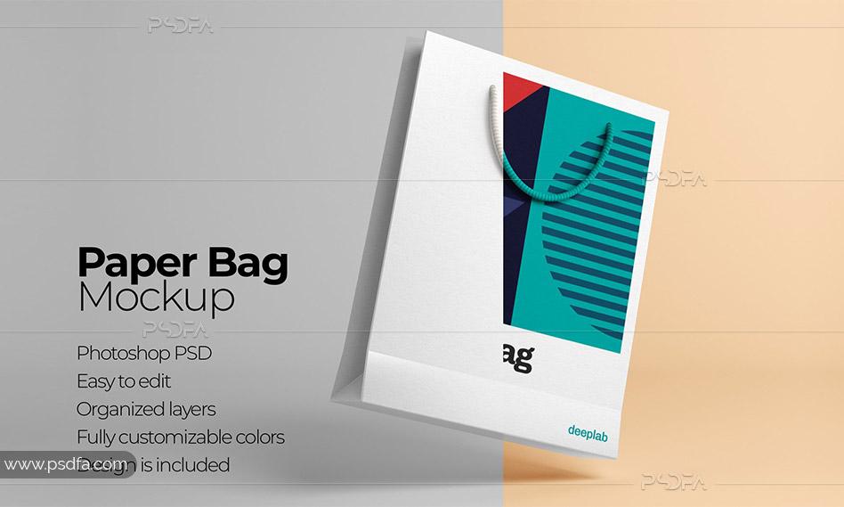 موکاپ بگ خرید و هدیه کاغذی لایهباز با فرمت PSD برای فتوشاپ