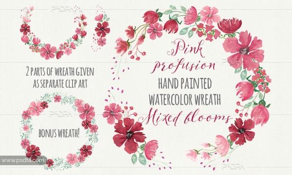 طرح آبرنگی تاج گل صورتی دستساز مناسب برای طرحی