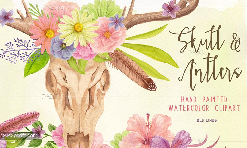 طرح آبرنگی جمجمه و شاخ گوزن گلدار مناسب برای طراحی