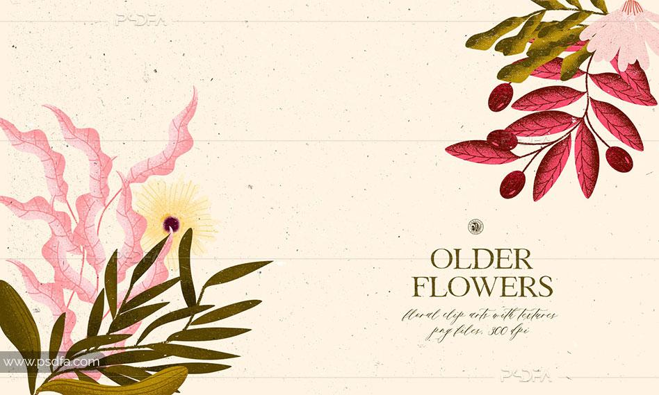 کلیپ آرت فانتزی گل و بوته با طرح قدیمی مناسب برای طراحی