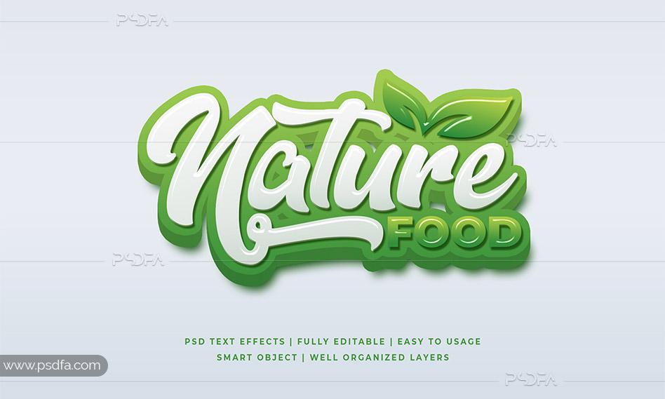 قالب متن سهبعدی طبیعت سبز به صورت لایهباز برای فتوشاپ
