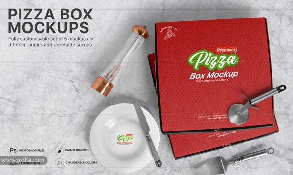 موکاپ جعبه پیتزا – پنج ست لایه باز قابل ویرایش در فتوشاپ