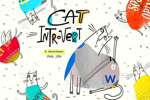 کلیپ آرت و PNG گربه فانتزی و بامزه خجالتی بدون بکگراند