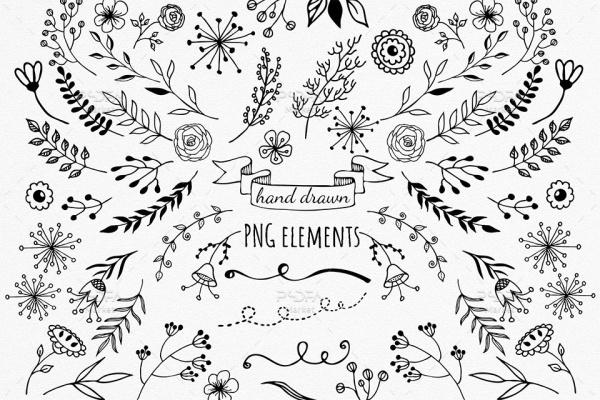 کلیپ آرت گل و بوته دستساز تزئینی دودلی با فرمت PNG