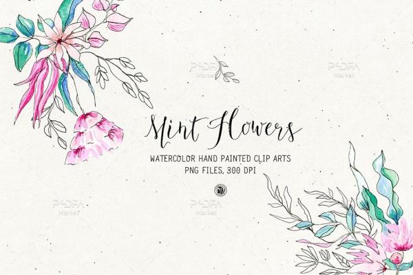 کلیپ آرت گلهای نعناع دستساز با طرح آبرنگ و فرمت PNG