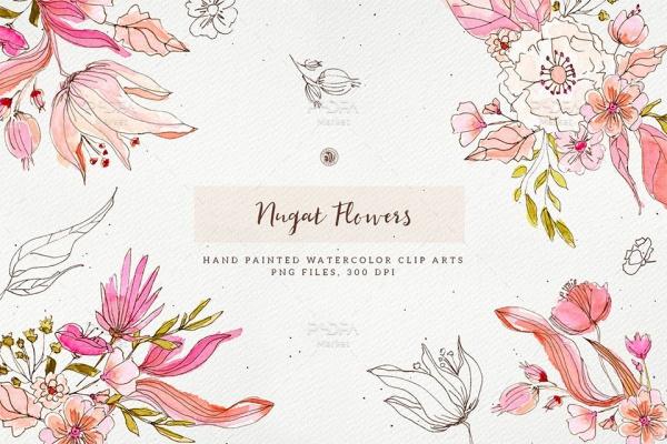 طرح آبرنگی گل و بوته فانتزی Transparent مناسب برای طراحی