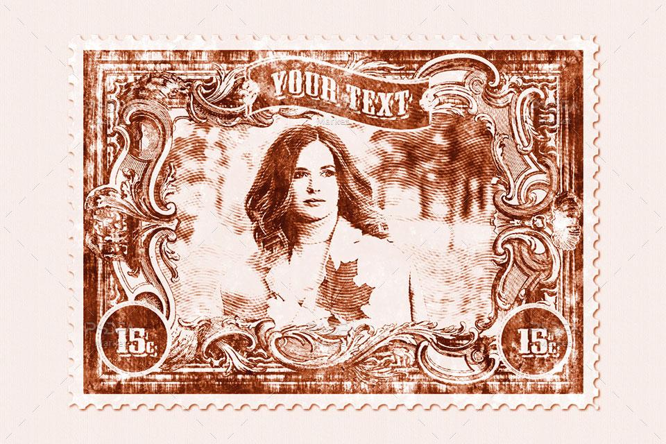 موکاپ تمبر پستی قدیمی و کهنه لایهباز برای فتوشاپ