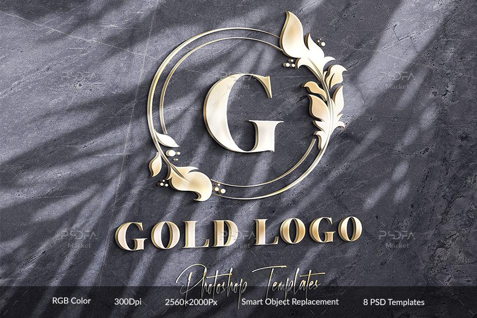 موکاپ لوگوی طلایی روی دیوار با افکتهای نوری متنوع برای فتوشاپ