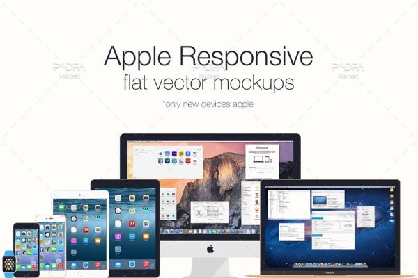 موکاپ فلت دیوایسهای اپل شامل آیمک، مکبوک، آیفون، آیپد و …