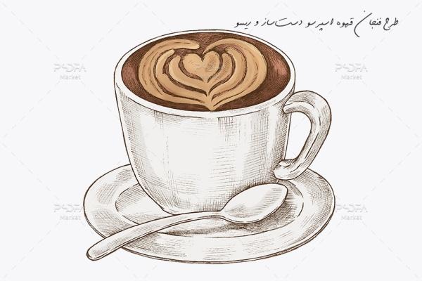 طرح فنجان قهوه اسپرسو دستساز و ریسو نقاشی شده PSD
