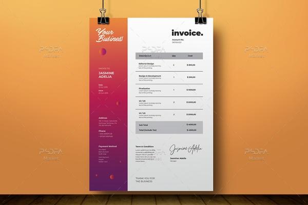 فاکتور فروش شرکتی به همراه پیش فاکتور لایهباز برای فتوشاپ، ایلوستریتور و ورد